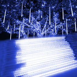 Meteor Shower Falling Star Rain Drop Icicle Snow LED Christmas Outdoor Light BLU