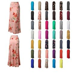 FashionOutfit Women#x27;s Stylish Fold Over Flare Long Maxi Skirt Made In USA $11.99