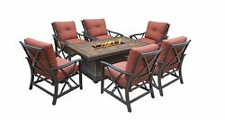 Oakland Living Vienna Gas Chat Set with Firepit Table Antique Bronze