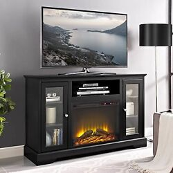 52' Highboy Fireplace Wood TV Stand Console - Black