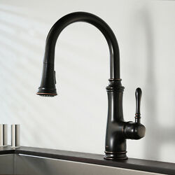 Keewi Single Handle Pull out Kitchen Faucet Sink Mixer Brass Oil Rubbed Bronze