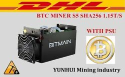 Used BTC Miner Antminer Machine Asic With Power Supply S5 1150g 28nm Bm1384 DHL