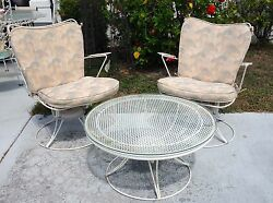 Mid century Homcrest Salterini woodard Metal garden chairs wmatching table