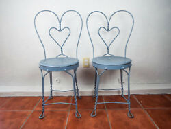 Vintage 30s Blue Metal Ice Cream Parlor Chairs Bistro Garden Patio Pair of Seats
