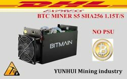 Used BTC Miner Antminer Machine Asic WITHOUT Power Supply S5 1150g 28nm Bm1384