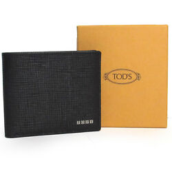 TOD's TODs authentic mens luxury italian black leather wallet Made in Italy $320
