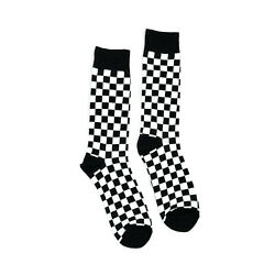 Mens Fun Socks Checkered Pattern 1 Pair Casual Novelty Trouser Black Check $11.00