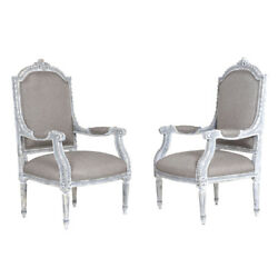 Pair of Antique French Louis XVI-style Armchairs Newly Upholstered