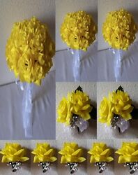 Yellow Rose Bridal Wedding Bouquet Package