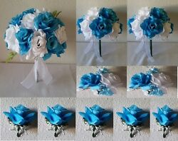 Turquoise White Rose Bridal Wedding Bouquet Package