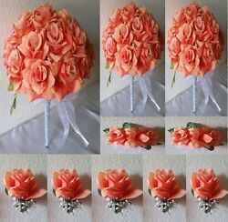 Coral Rose Bridal Wedding Bouquet Package