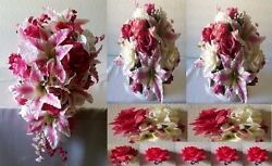 Fuchsia Ivory Rose Tiger Lily Cascading Bridal Wedding Bouquet Package