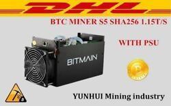 BTC Miner Bitcoin Mining Machine Asic With Power Supply Antminer S5 1.15T Used