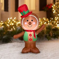 Christmas Inflatable LED Gingerbread Man Airblown Decor Gemmy Indoor Outdoor