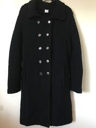TSE Pure Cashmere Black Full Length Heavy Knit Double Breasted Sweater Coat Med.