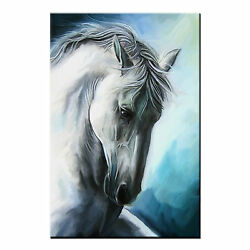 Framed Canvas Prints Living Room White Horse Wall Art Canvas Oil Painting Print $45.80