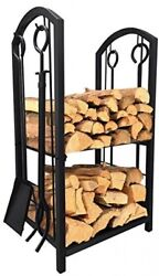Fireplace Log Rack 4 Tools Indoor Outdoor Firewood Holders Lumber Storage New