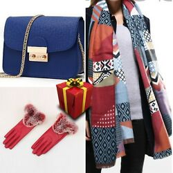 Set 12 Women Square Scarf Wool Cotton Cashmere Mini Bag Present Red Gloves
