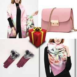 Set 11 Women Scarf Wool Cotton Cashmere Mini Bag Present Gloves Free Shipping