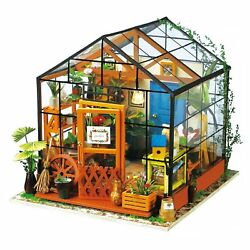DIY Dollhouse Wooden Miniature Furniture Kit Mini Green House with LED Gift