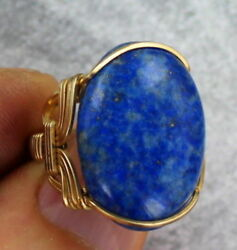 Denim Lapis Lazuli Gemstone Ring in 14kt Rolled Gold Size 5 to 15 Wire Wrapped