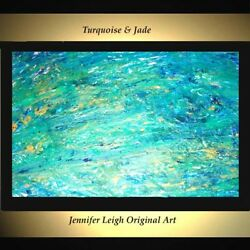 ORIGINAL LARGE ABSTRACT MODERN ART PAINTING Turquoise Green Blue 36x24 JLEIGH $529.00