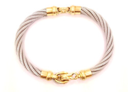 Stainless Steel Cable Bracelet with 18kt Yellow Gold