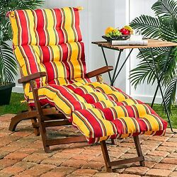 Lounge Chair Cushion Seat Padded Tufted Chaise Mattress Pool Patio Red Yellow 72
