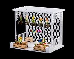 Dollhouse Miniatures White Wooden Greenhouse Garden with Orchid and Flowers