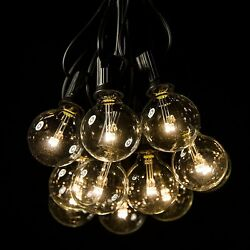 25 Foot LED Warm White Outdoor Globe Patio String Lights - Set of 25 LED G40 Cle