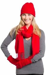 Women's Gift Box 100% Cashmere 3pc Hat Glove and Scarf Set (Red)