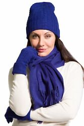 Women's Gift Box 100% Cashmere 3pc Hat Glove and Scarf Set (Blue)