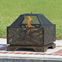 Outdoor Fire Pit Wood Burning Fireplace Heater Cooking Grate Backyard  Patio New