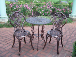 Oakland Wrought Iron Rose Patio Set Bistro Table Chairs 3 Pieces Garden Outdoor