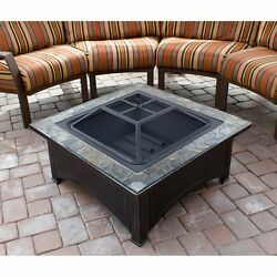 NEW Outdoor Wood Burning Fire Pit Tile Table Deep Bowl Backyard Fireplace Heater