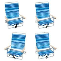 Rio Brands 5 Position Classic Lay Flat Beach Chair W Backpack Straps