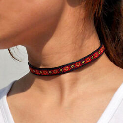 Fashion Collar Charm Retro Choker Chunky Classic embroidery necklace Jewelry