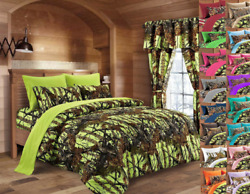 22 PC LIME CAMO FULL BEDDING SET! COMFORTER SHEET CAMOUFLAGE CURTAINS NEON GREEN