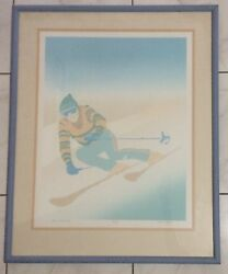 """ART HAND SIGNED NUMBERED """"SHE SKIIER 2"""" PRINT BY DEAN HAYES 44300 COA ATTACHED"""