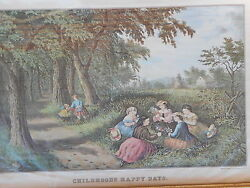 Currier and Ives Childhoods Happy Days print framed girls picking flowers $29.99