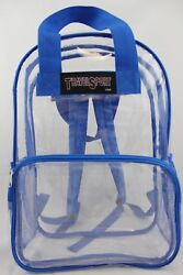 Transparent Clear Vinyl PVC 17 INCH Large School Backpack (Royal Blue) 419RB