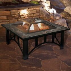 Outdoor Log Wood Burning Fire Pit Backyard Heater Patio Tile Table Top Fireplace