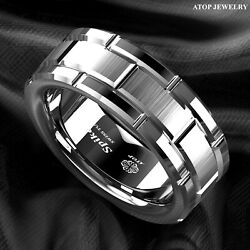 8mm Men's Tungsten Carbide Ring Silver Wedding Band Brick Pattern Size 6-13 ATOP