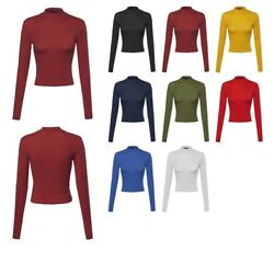 FashionOutfit Women#x27;s Basic Solid Cotton Based Long Sleeves Mock Neck Crop Top $6.49
