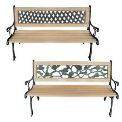 Patio Outdoor Garden Bench WoodenIron Seat Sofa Couch RoseDiamond-Patterned