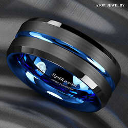 86mm Tungsten Men's Ring Thin Blue Line-Inside Black Brushed Band ATOP Jewelry