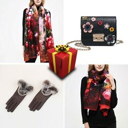 Set 9 Women Scarf Wool Cotton Cashmere Floral Bag Present Gloves Spring Flowers