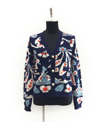 CHANEL Flower stalk cashmere Long sleeves Cardigan Navy Used