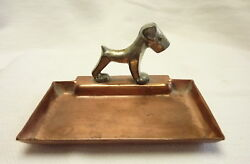 Vintage Art Deco Flemish Copper B.P. Co. Pin Coin Tray Silver Terrier Dog