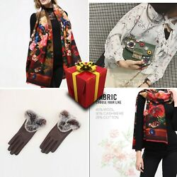 Set 6 Women Scarf Wool Cotton Cashmere Green Floral Bag Present Gloves Spring